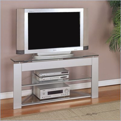 Powell Furniture Glossy Silver LCD/Plasma TV Stand