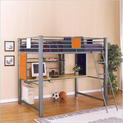 Powell Furniture Teen Trends Full Size Study Metal Loft Bunk Bed in Silver Finish 