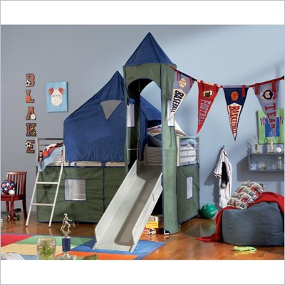 Powell Furniture Boys Blue &amp; Green Twin Tent Bunk Bed with Slide