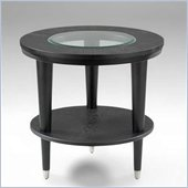 Klaussner Furniture Ontario Round Black Wood End Table with Glass Top