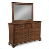 Klaussner Plymouth Dresser & Mirror in Brown Cherry