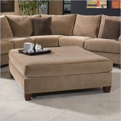 Klaussner Furniture Canyon Square Ottoman in Nuzzle Latte