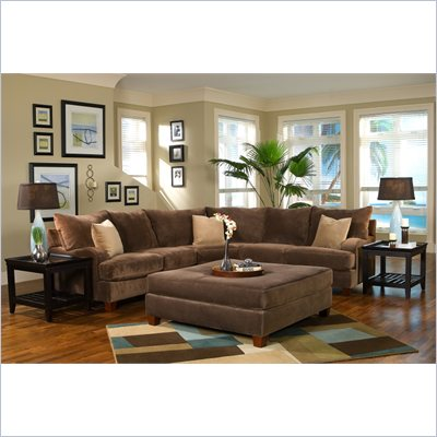 Klaussner Furniture Canyon Sectional in Nuzzle Brown