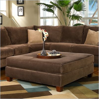 Klaussner Furniture Canyon Square Ottoman in Nuzzle Brown