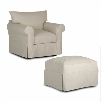 Klaussner Jenny Slipcover Chair and Ottoman