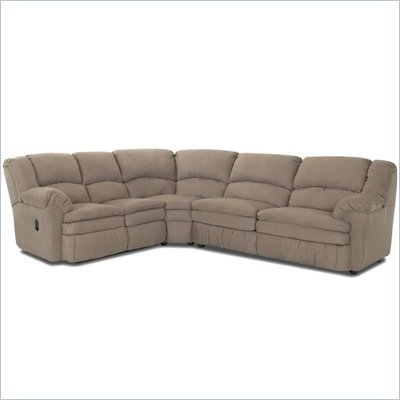 Klaussner Furniture Rupert Microsuede Sectional Reclining Set in Khaki