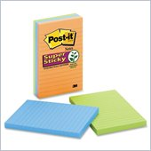 Post-it Super Sticky Lined Notes in Electric Glow Colors