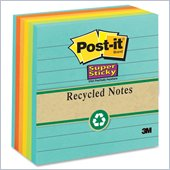 Post-it Recycled Super Sticky Lined Notes in Farmers Market Colors