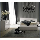 Rossetto Domino Platform Bed 5 Piece Bedroom Set in Ivory