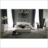 Rossetto Domino Platform Bed 6 Piece Bedroom Set in Ivory