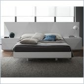 Rossetto Sapphire Platform Bed 3 Piece Bedroom in White Finish