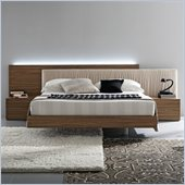 Rossetto Edge Platform Bed 4 Piece Bedroom Set in Walnut