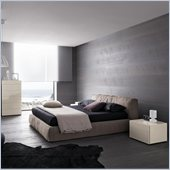 Rossetto Twist Platform Bed 5 Piece Bedroom Set in Soft Grey