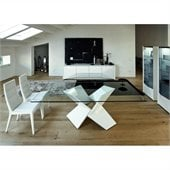 Rossetto Sapphire Glass Top Dining Table in White