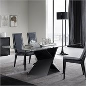 Rossetto Sapphire Glass Top Dining Table in Black