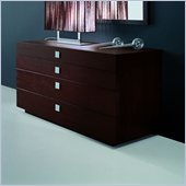 Rossetto Win 4 Drawer Dresser in Wenge with Metal Handles
