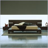 Rossetto Win Platform Bed in Wenge With Lights