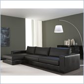 Rossetto Nightfly Small Sofa With Left Chaise Lounge in Black