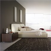 Rossetto Pavo Milky Plaftorm Bed with Nigh Stand 2 Piece Bedroom Set