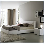 Rossetto Touch White Platform Bed with Night Stand 2 Piece Bedroom Set