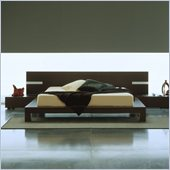 Rossetto Win Wenge Platform Bed with Night Stands 3 Piece Bedroom Set