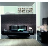 Rossetto Diamond Platform Bed 5 Piece Bedroom Set in Black