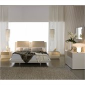 Rossetto Diamond Platform Bed 4 Piece Bedroom Set in Ivory