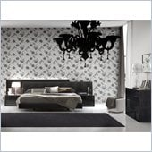 Rossetto Nightfly Platform Bed 4 Piece Bedroom Set in Ebony