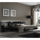 Rossetto Nightfly Bed with Night Stands 3 Pieceb Bedroom Set in Black