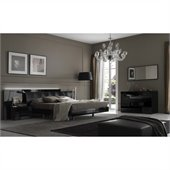 Rossetto Nightfly Bed with Night Stands 5 Pieceb Bedroom Set in Black