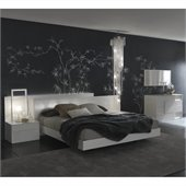 Rossetto Nightfly Bed with Night Stands 3 Piece Bedroom Set in White