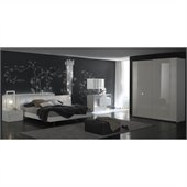 Rossetto Nightfly Bed with Night Stands 6 Piece Bedroom Set in White