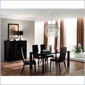 Rossetto Nightfly 7 Piece Rectangular Dining Table Set in Ebony