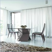 Rossetto Sapphire 5 Piece Glass Top Dining Table Set in Grey