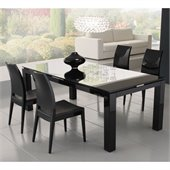 Rossetto Diamond 5 Piece Rectangular Dining Table Set in Black