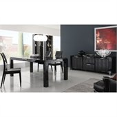 Rossetto Diamond 6 Piece Rectangular Dining Table Set in Black