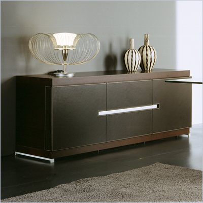 Rossetto City Buffet in Wenge with Brown Leather Doors