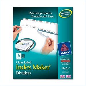 Avery Index Maker Copier Clear Label Divider