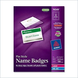 Avery Laser/Inkjet Pin Style Name Badge Kit