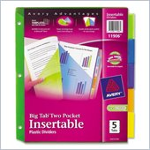 Avery Plastic Two-Pocket Insertable Tab Divider