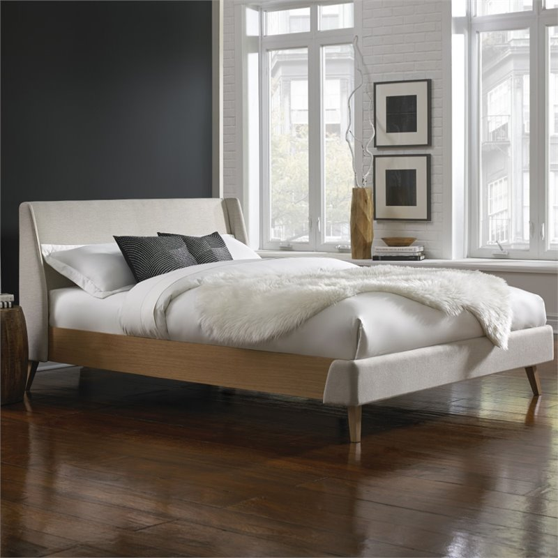 Fashion Bed Palmer Upholstered California King Platform Bed in Flax