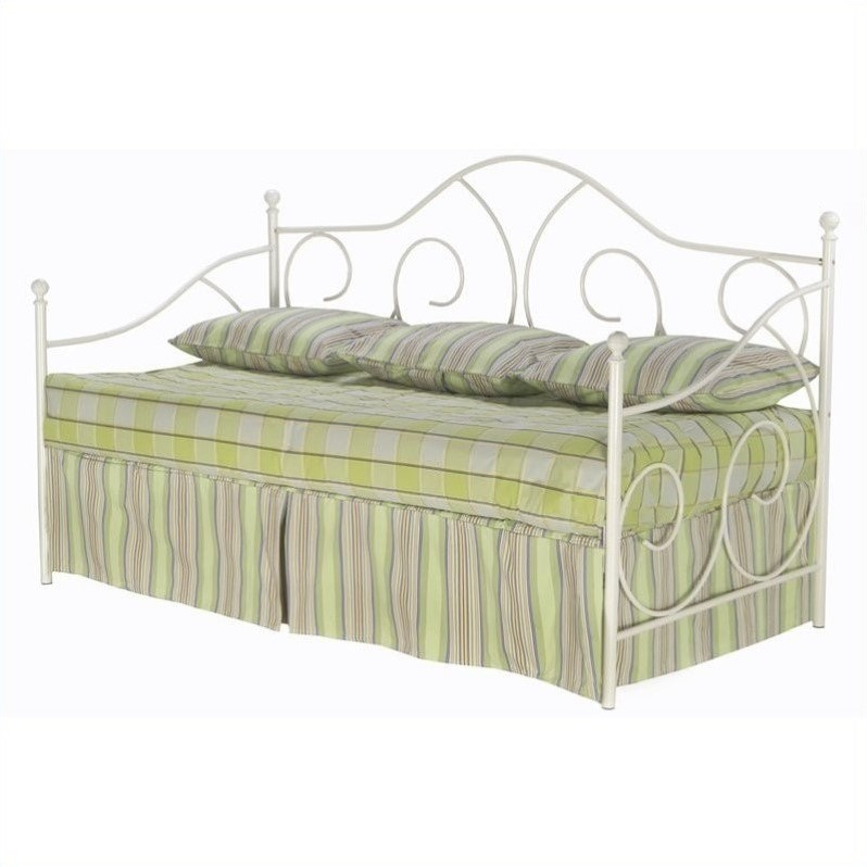 Fashion Bed Caroline White Metal Daybed with Link Spring