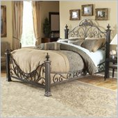 Fashion Bed Group Baroque Metal Poster Bed in Gilded Slate