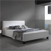 Fashion Bed Group Euro Leather Platform Bed in White Finish