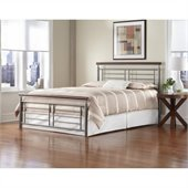 Fashion Bed Fontane Metal Bed in Silver and Cherry