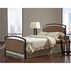 Fashion Bed Gibson Metal Upholstered Panel Bed in Brown