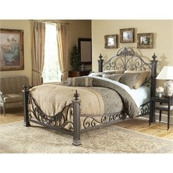 Fashion Bed Baroque Metal Poster Bed in Gilded Slate