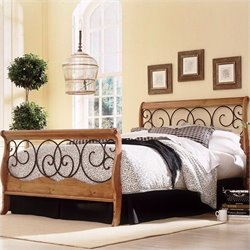 Fashion Bed Dunhill Sleigh Bed in Honey Oak with Autumn Brown Finish