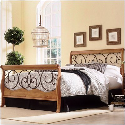 Fashion Bed Group Dunhill Sleigh Bed in Honey Oak with Autumn Brown Finish