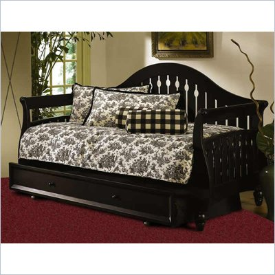 Fashion Bed Fraser Sleigh Daybed Front Panel and Rollout Trundle in Black